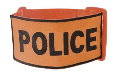 Brassard Police - Brodé - Orange